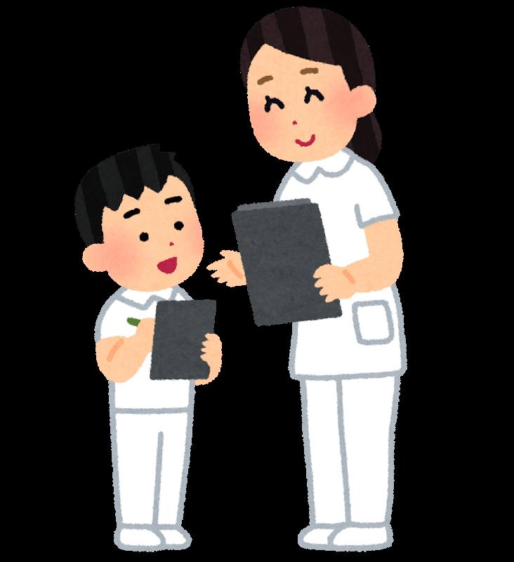 看護師と職場体験中の男子生徒のイラスト