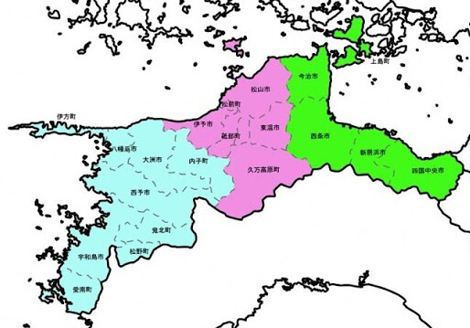 愛媛県の地図画像